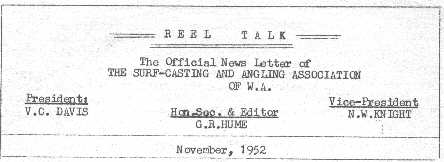Copy of the heading on the November 1952 Reel Talk